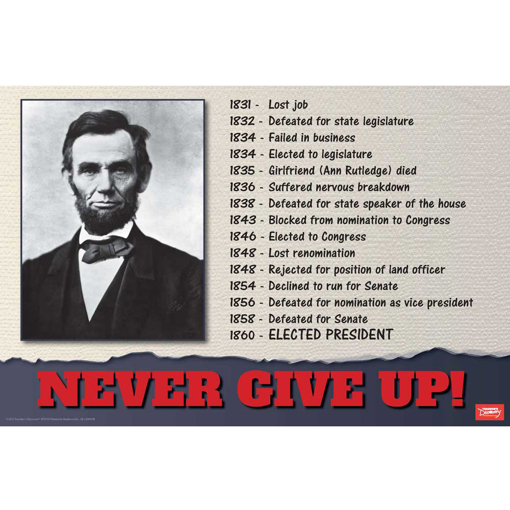 Lincoln Never Give Up! Mini-Poster