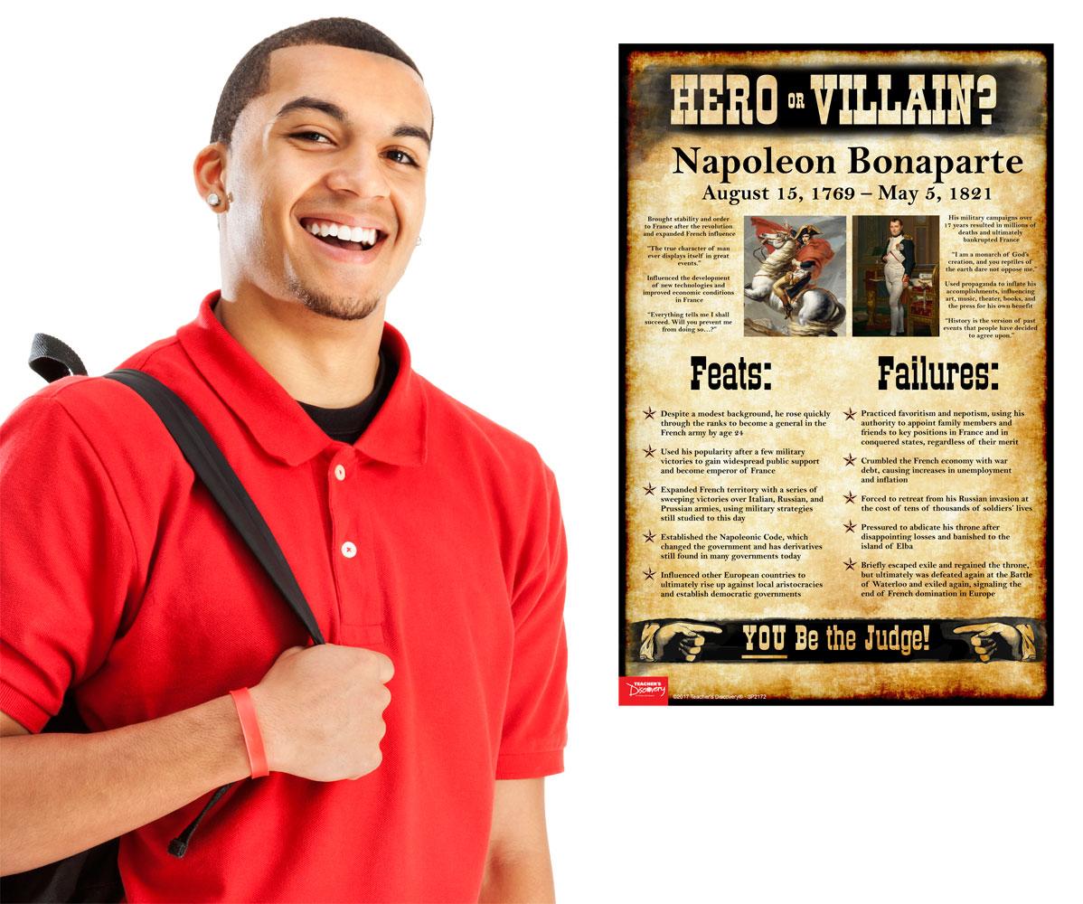 napoleon bonaparte hero or villain mini poster social studies   enlarge image