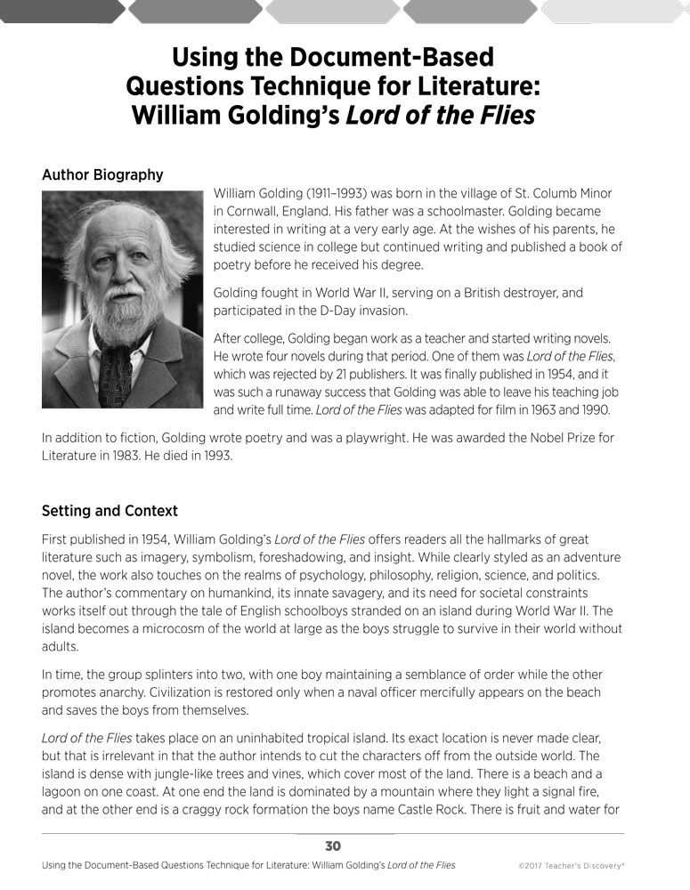 william golding's literature in lord of William golding was born in cornwall in 1911 and was educated at marlborough grammar school and at brasenose college, oxford apart from joined the royal navy in 1940 and spent six years afloat, except for seven months in new york and six months helping lord cherwell at the naval research establishment.
