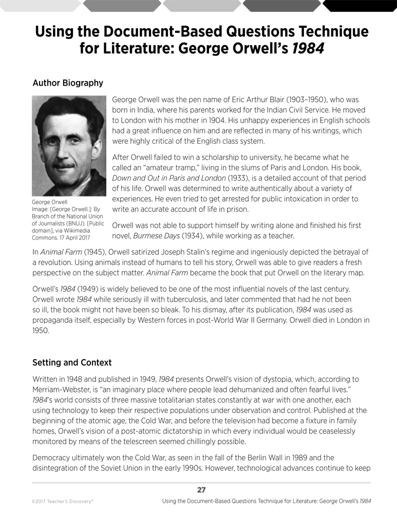 george orwell 1984 thesis statements George orwell's 1984: analytical  orwell's 1984 is a presentation of dystopia and is meant as a warning for the  __ clear intro and thesis statement, a.
