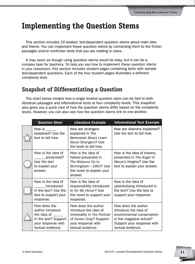 Leveled Text Dependent Question Stems Book
