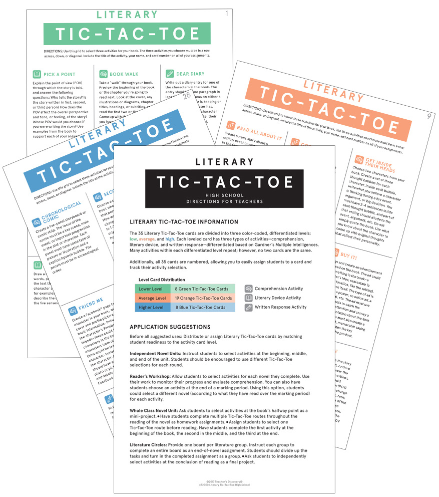Literary Tic-Tac-Toe: Differentiated Novel Activities Card Set for High School