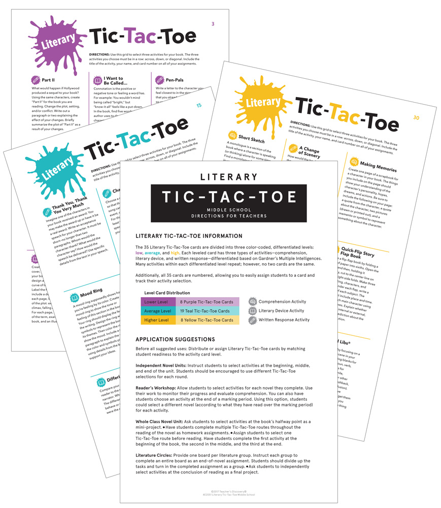 Literary Tic-Tac-Toe: Differentiated Novel Activities Card Set for Middle School