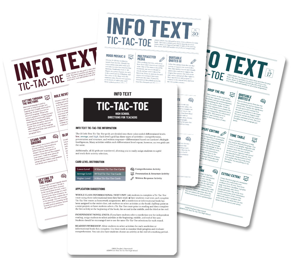 Info Text Tic-Tac-Toe Middle School and High School Set of 2