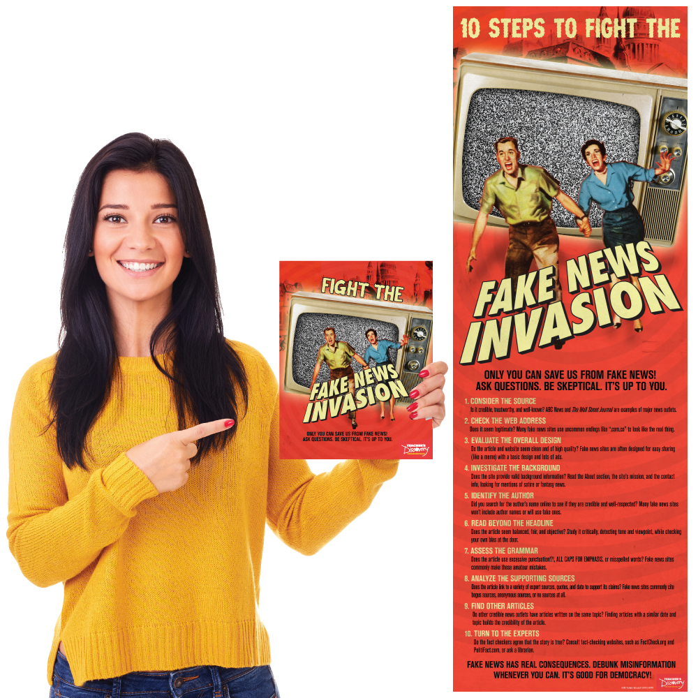 Fight the Fake News Invasion Print Book and Skinny Poster