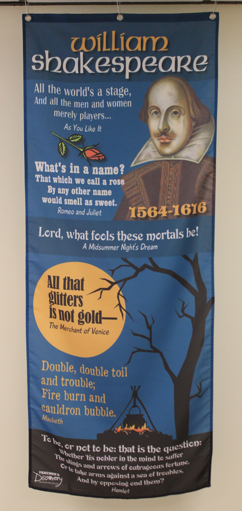 Celebrate Shakespeare! William Shakespeare Fabric Banner with Clips