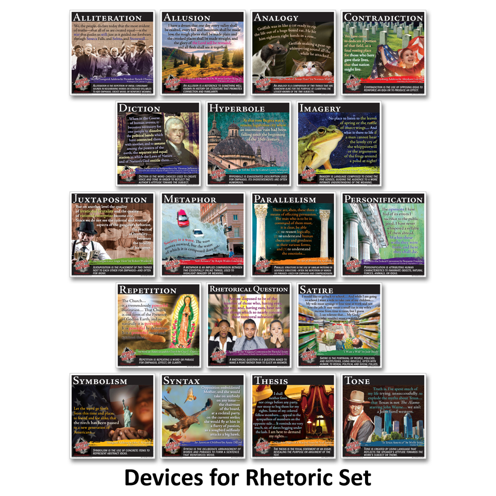 Novel Guide Devices for Rhetoric Mini-Posters  - Novel Guide Devices for Rhetoric Mini-Poster Set of 18 Print Posters