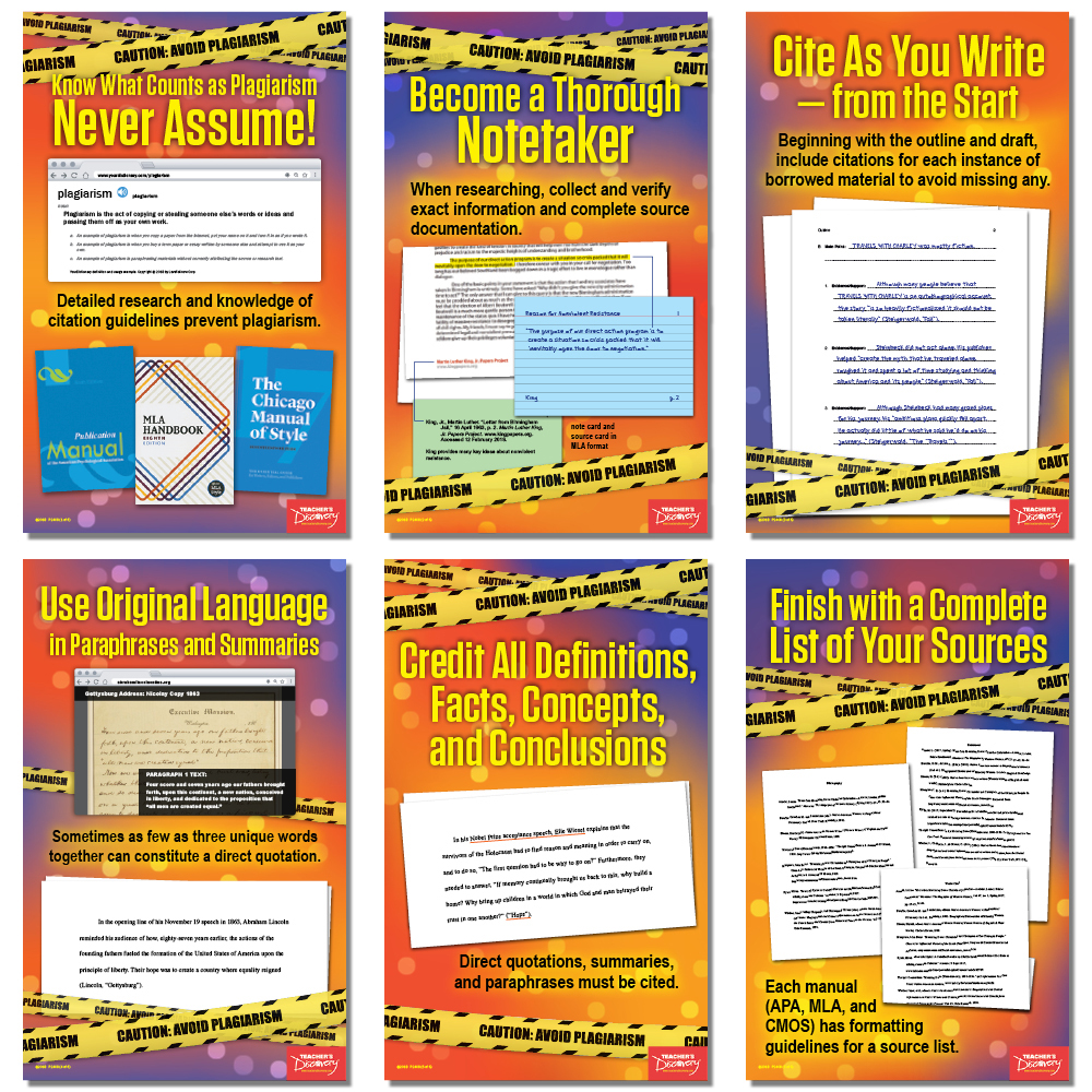 Caution! Avoid Plagiarism Mini-Poster Set - Caution! Avoid Plagiarism Mini-Poster Set