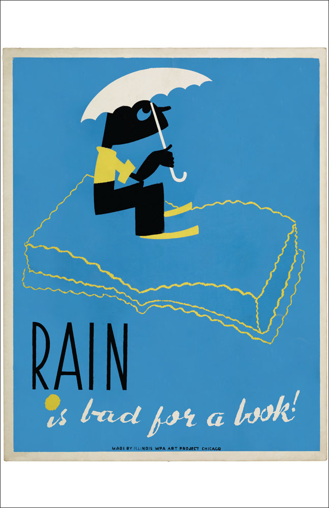 WPA Reading Poster: Rain Is Bad for a Book