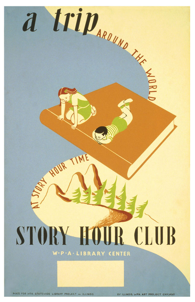 WPA Reading Poster: Story Time A Trip Around the World