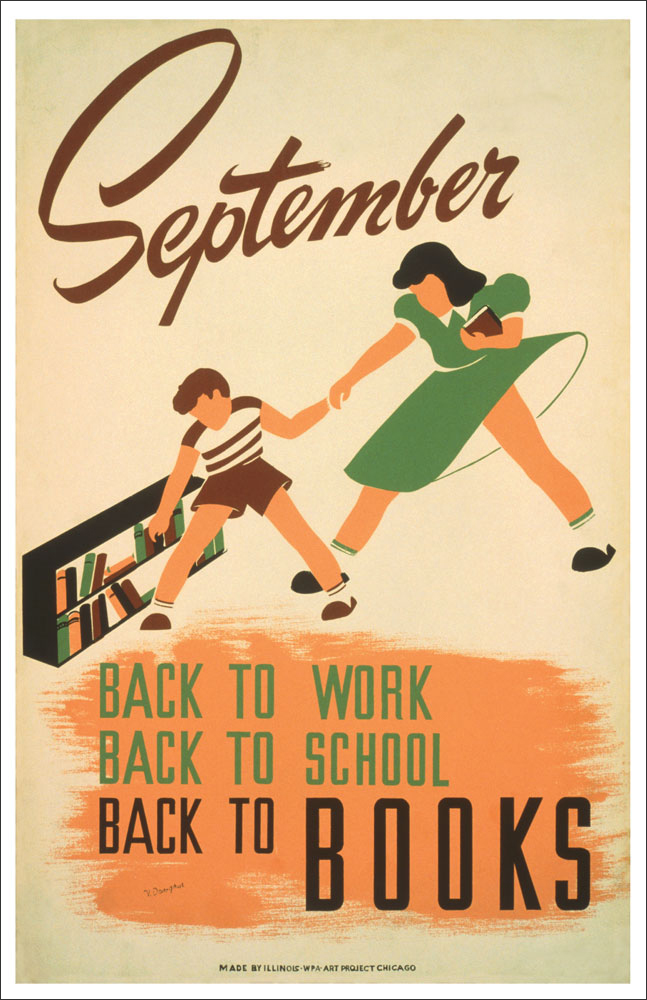 WPA Reading Poster: September Back to School and Books