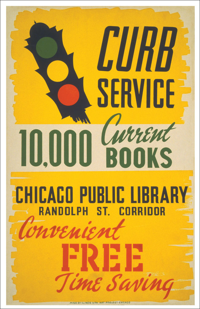 WPA Reading Poster: Curb Service for 10,000 Current Books