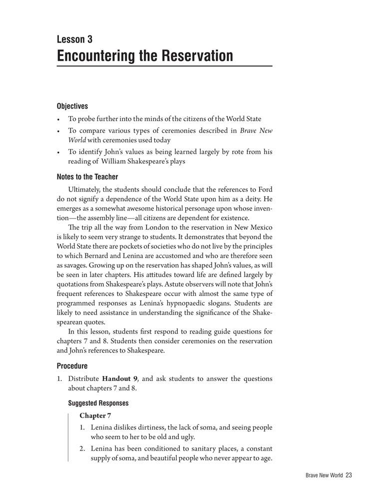 Brave New World Curriculum Unit, English: Teacher's Discovery