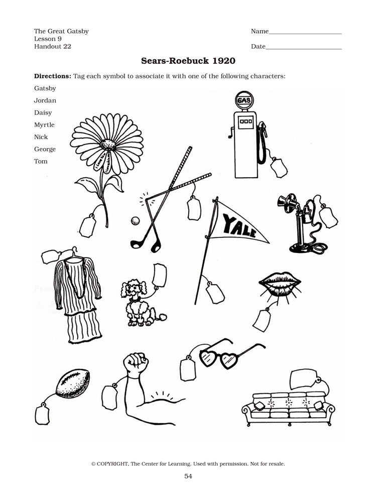 Handout 15 Lesson 8 Great Gatsby