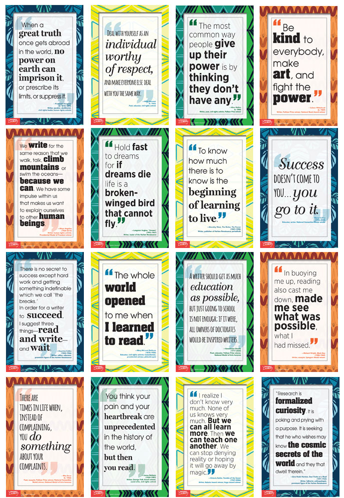 African-American Voices: Writers Poster Set of 16