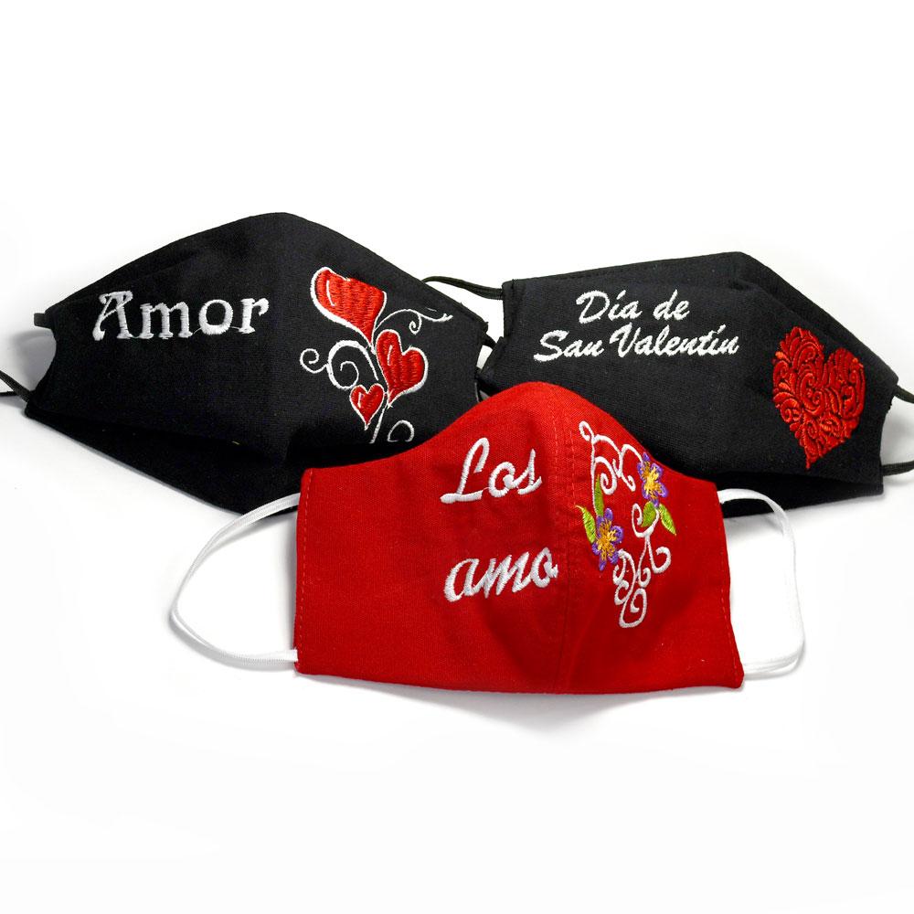 Isabel's Cubrebocas de San Valentín - Pack of 3 Valentine's Day Face Masks in Spanish