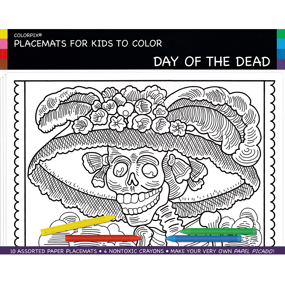 Placemats for Kids to Color - Day of the Dead (10), Clearance ...