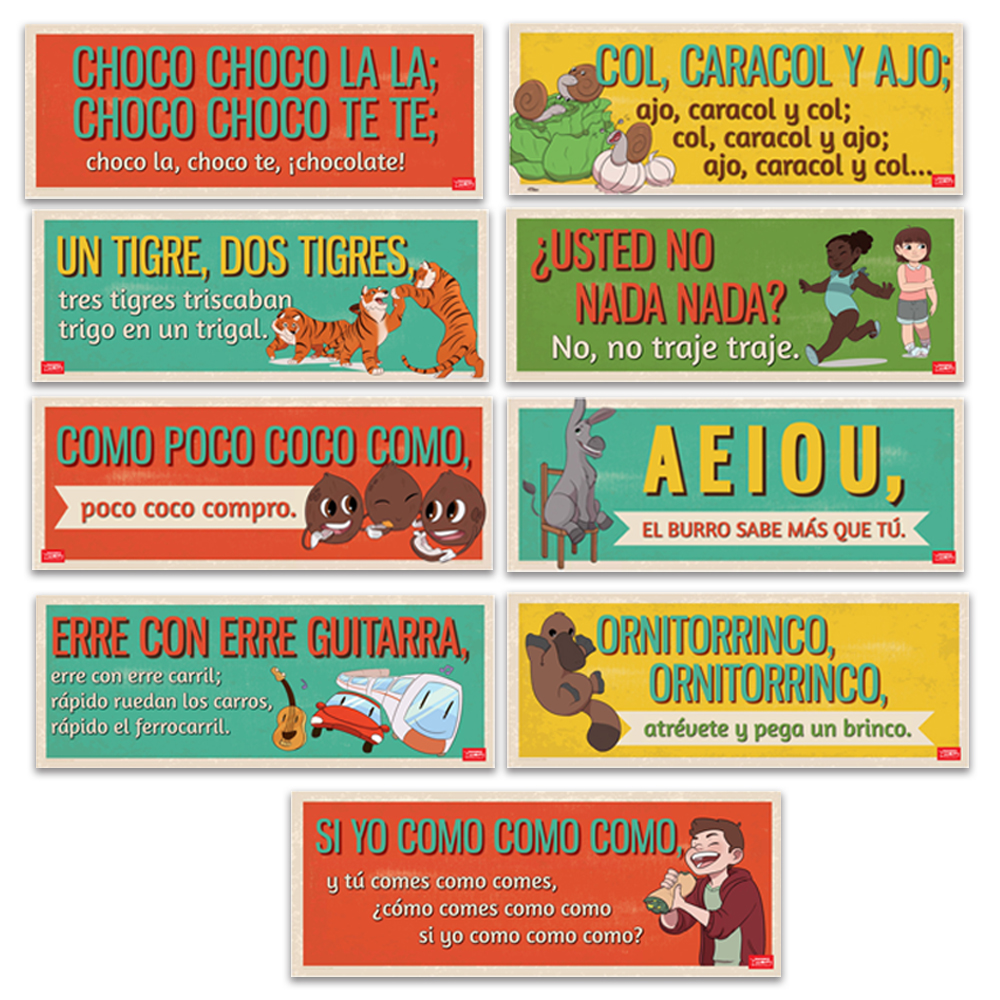 Authentic Spanish Tongue Twister Signs