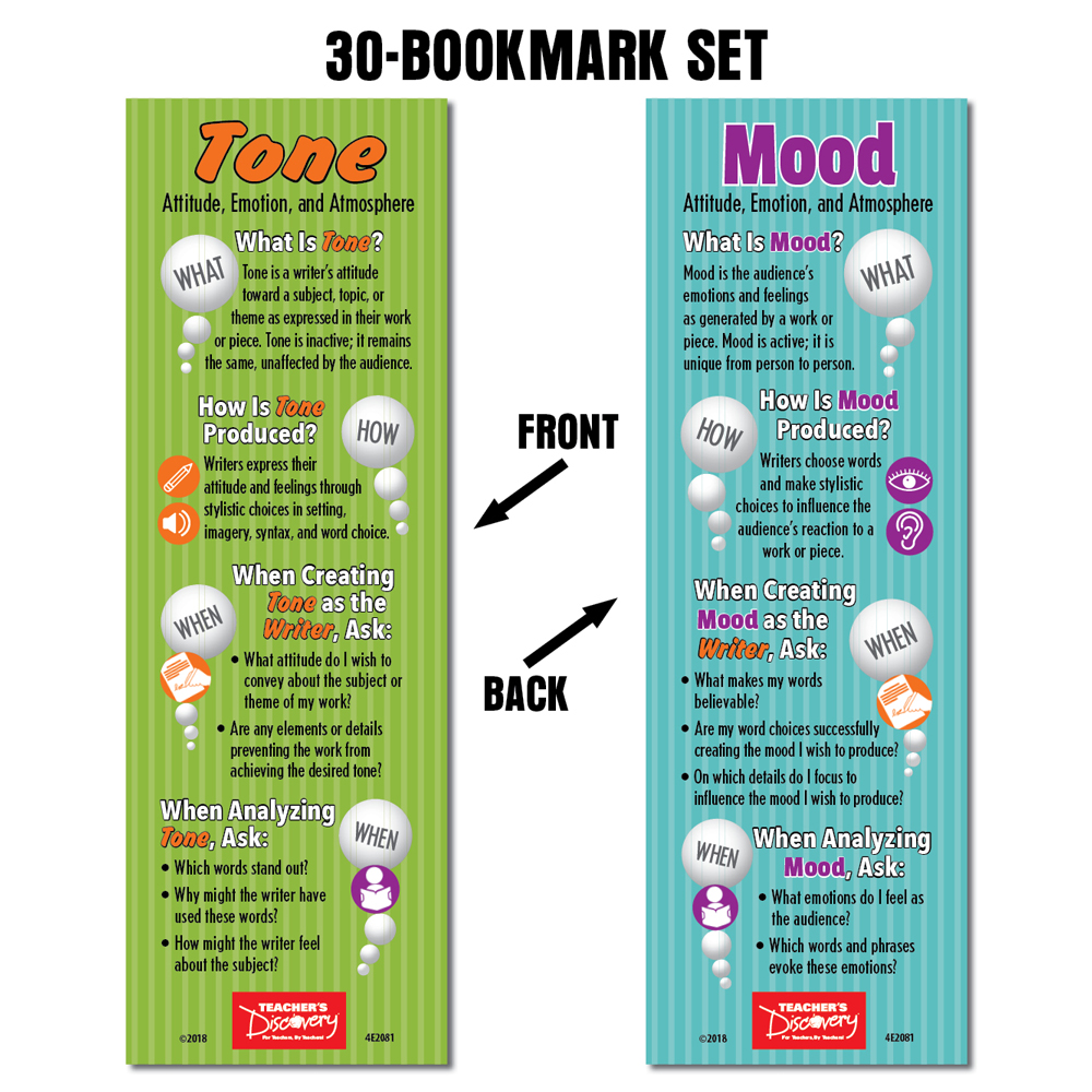 Tone and Mood Bookmarks - Set of 30