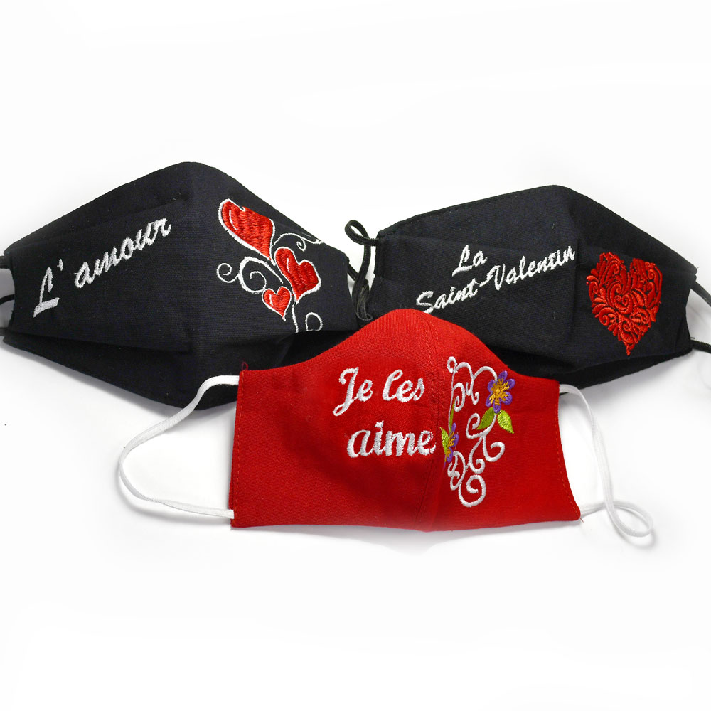 Masques pour la Saint-Valentin - Pack of 3 Valentine's Day Face Masks in French
