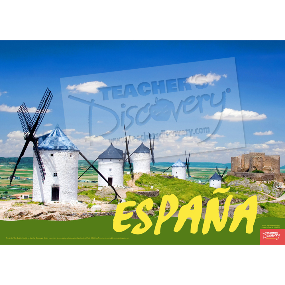 Windmills Spain Travel Poster