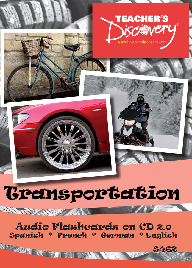 Audio Flash Cards Spanish / French / German / English Transportation