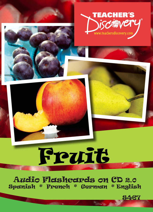 Audio Flash Cards Spanish/French/German/English Fruit