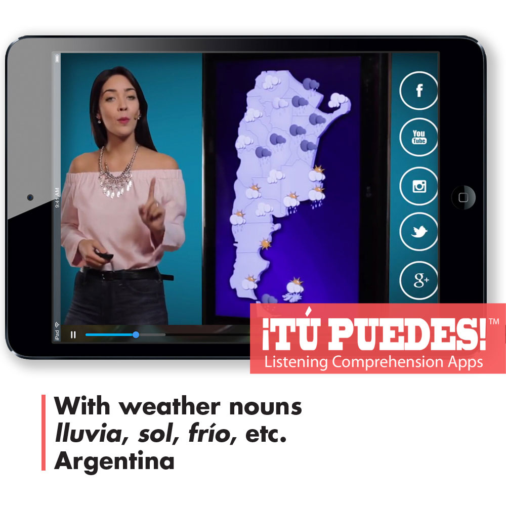 Listening Comprehension App Weather Report for One Teacher and Unlimited Students