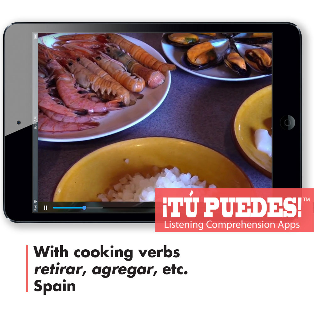 Listening Comprehension App Making Paella for One Teacher and Unlimited Students