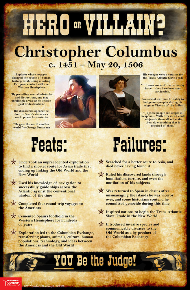 christopher columbus hero or villian There has been many debates on whether or not christopher columbus should be seen as a hero or a villain this report shows both arguments on this particular topic.