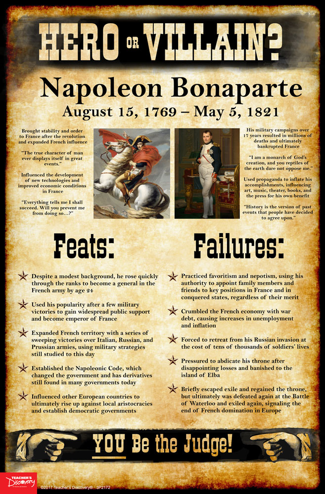 napoleon bonaparte hero or villain mini poster social studies  napoleon bonaparte hero or villain mini poster
