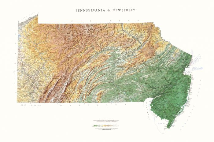 New Jersey and Pennsylvania Physical State Map