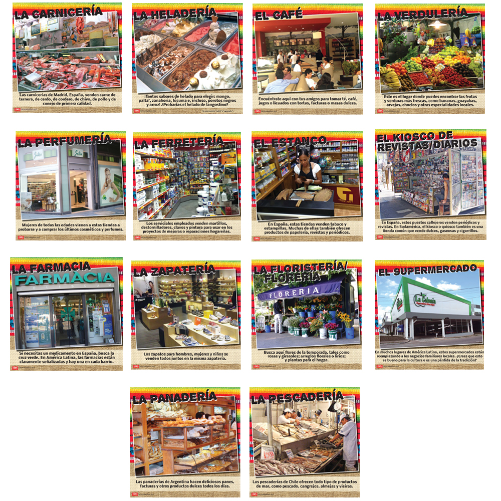 Mercados hispanos Bulletin Board Set