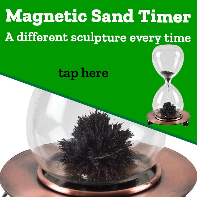 Magnetic Sand Timer. A different sculpture every time!