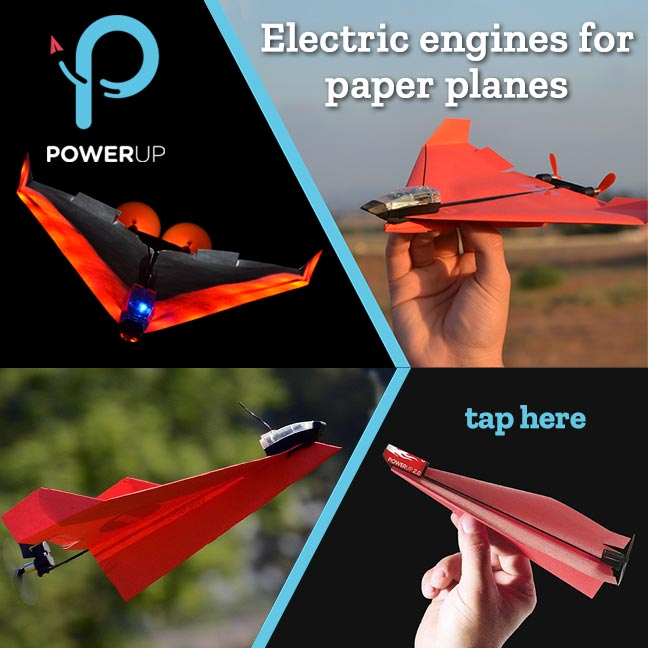 PowerUp electric engines for paper planes.