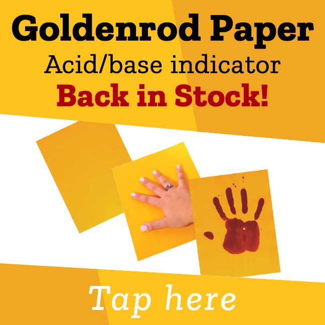Goldenrod Paper Acid/base indicator Back in Stock!
