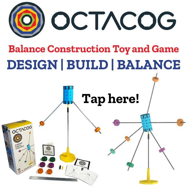 Balance construction toy and game. Design. Build. Balance.