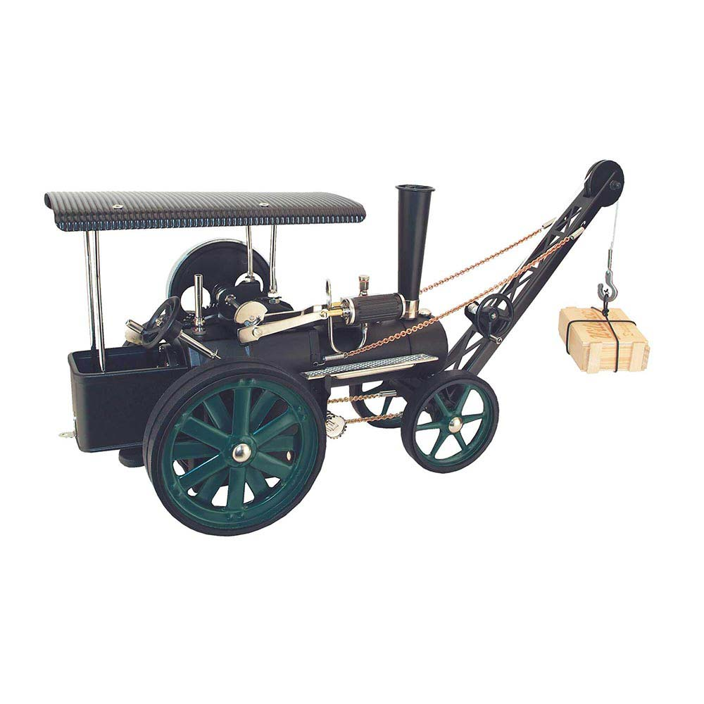 Wilesco Steam Traction - D 405/1 / moss green & black / with crane