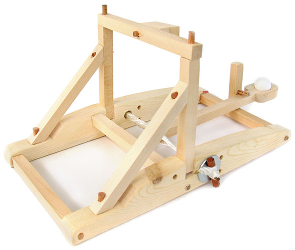 Physics working wood catapult kit for Catapult design plans for physics