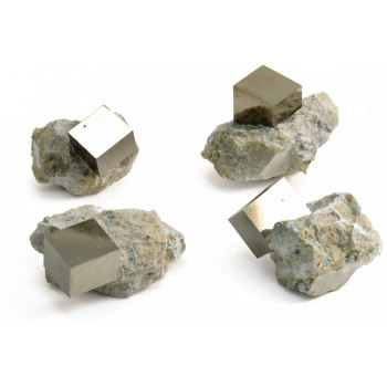 Pyrite Cubes - Pyrite in Matrix
