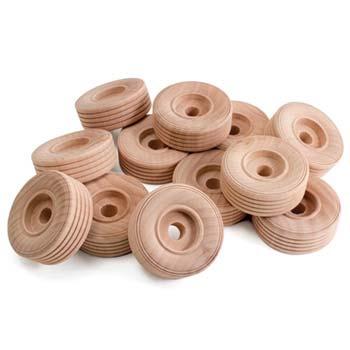 Wooden Wheels - Large Wooden Wheels, 12/pk