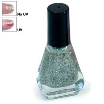 Silver Glitter to Gold Glitter UV Nail Polish