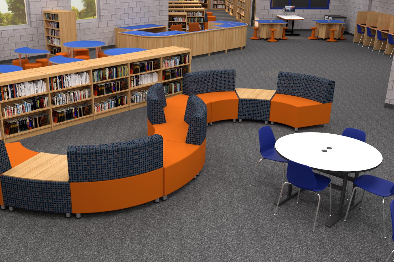 Zoned Modern Elementary School Library