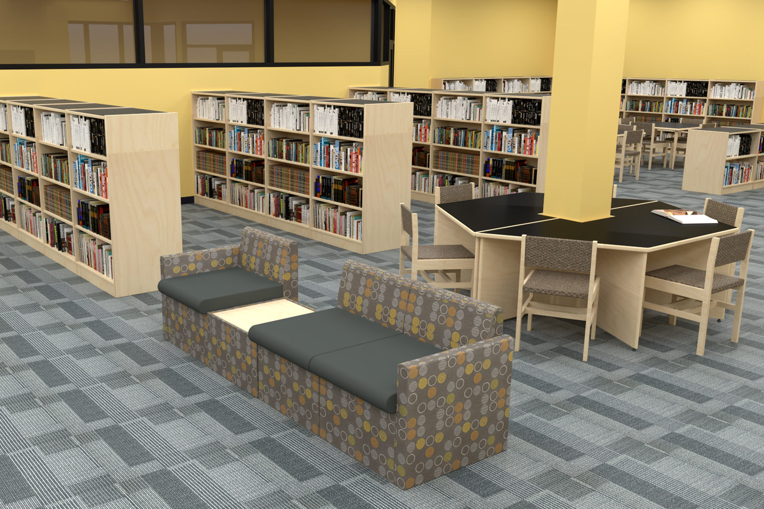 Energetic and Modern Elementary School Library