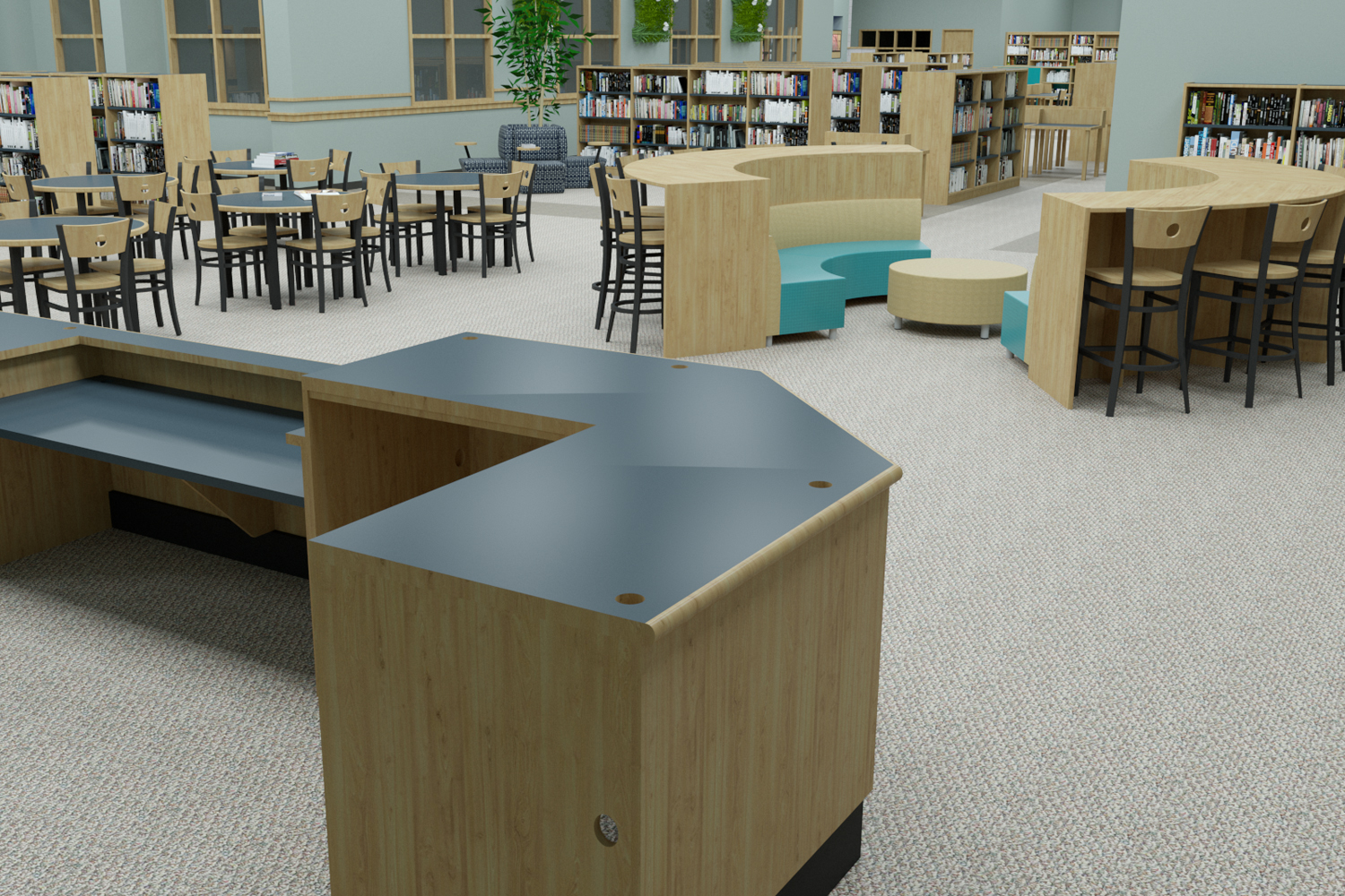 High School Library with ample study areas