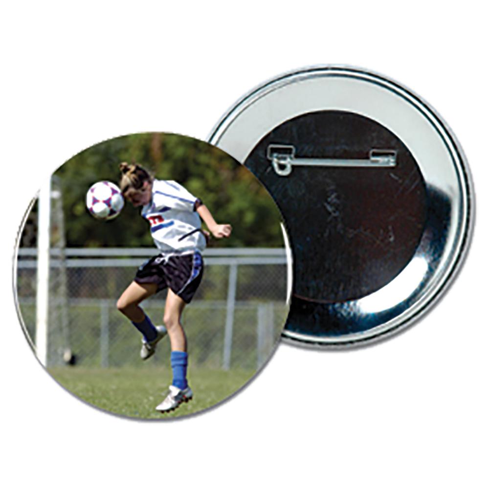 "Pin-Back Metal Buttons - 2-1/4"" Diameter, 100/Pkg"