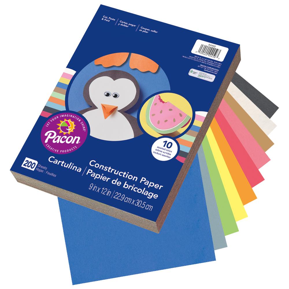 """Rainbow® Construction Paper - 9""""W x 12""""L - 200/Pkg"""