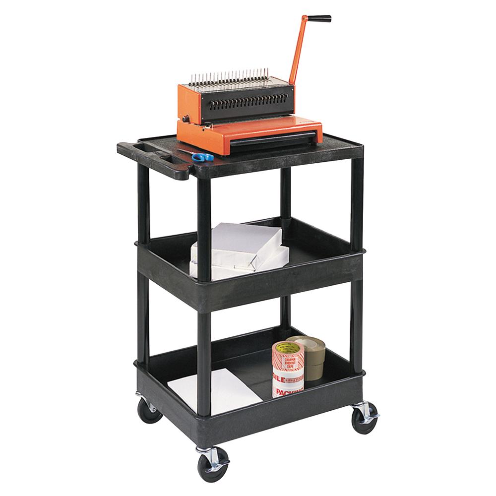 LUXOR H.WILSON Endura® Heavy-Duty Utility Cart - 1 Shelf/2 Tubs