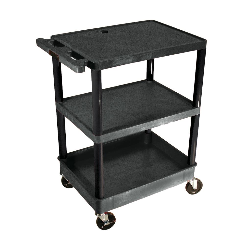 LUXOR|H.WILSON Endura® Heavy-Duty Utility Cart - 2 Shelves/1 Tub