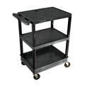 LUXOR|H.WILSON Endura® Heavy-Duty Utility Cart - 2 Shelves/1 Tub